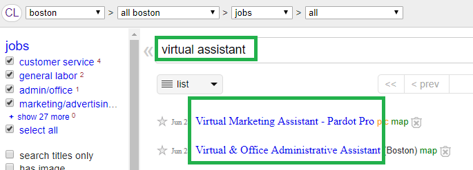 craigslist virtual assistant jobs