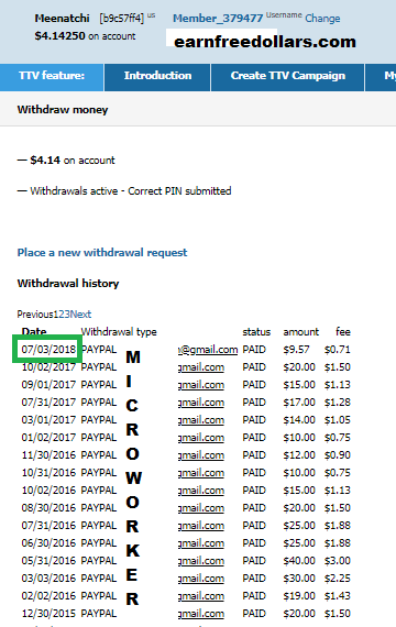 microworkers payment proof