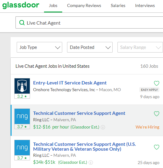 glassdoor live chat agent jobs