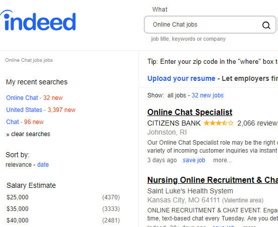 indeed online chat jobs
